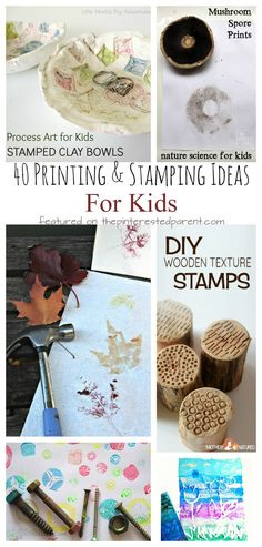 40 printmaking and stamping ideas for kids. Kids process art and painting. Nature, recyclables and other materials Science For Kids, Art For Kids, Crafts For Kids, Creative Activities, Toddler Activities, Art Activities, Preschool Ideas, Preschool Crafts, Recycling For Kids
