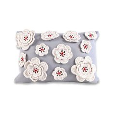 Crocheted Flowers Pillow Cover - Choose Your Color - by Ekofabrik