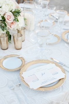 Reception decor -Gold rimmed glassware and charger at wedding.  #wedding #reception #gold