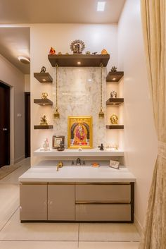 Indian Home Decor, Easy Home Decor, Home Office Decor, Pooja Room Door Design, Home Room Design, House Design, Tv Unit Interior Design, Modern Interior Design, Temple Design For Home