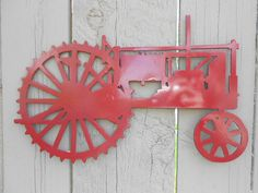 antique tractor wall art metal sign farmall john deere (green or red) on Etsy, $24.99