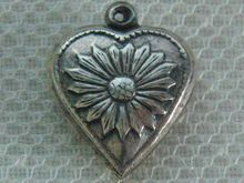 Vintage C1940's Sterling Sunflower Puffy Heart Charm For Bracelet