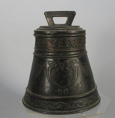 """1900s Huntley & Palmers London England Biscuit Tin Bell 7"""" Tall"""