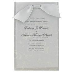 His U0026 Hers Gray U0026 Silver Wedding Invitations With Vellum U0026 Satin Ribbon |  Shop Hobby
