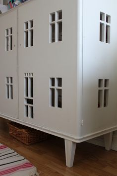 f1836f2eb8f999 cut-out windows and door in a cabinet to make a dollhouse Rousculp Sinclair