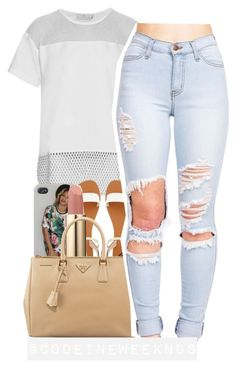 """8:28:15"" by codeineweeknds ❤ liked on Polyvore featuring adidas, 2b bebe, Lancôme and Prada"