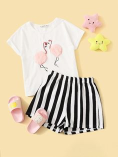 Girls Faux Fur Flamingo Embroidered Top and Shorts Set Kids Outfits Girls, Cute Girl Outfits, Girls Fashion Clothes, Teenager Outfits, Teen Fashion Outfits, Cute Casual Outfits, Girl Fashion, Cute Pajama Sets, Cute Pajamas