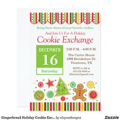 30 best christmas cookie exchange invitations images on pinterest gingerbread holiday cookie exchange invitation stopboris Gallery