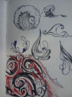 Water, wave, tattoo, drops..