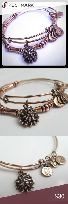 ALEX AND ANI ✴ Set of 2 bangles ✴ Gold Bamboo bangle ✴ Gold Water Lilly bangle ✴ Slightly oxidized and well loved Alex and Ani Jewelry Bracelets