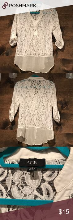 Cute Lace 3/4 Sleeve Top Adorable White Lace Shirt. EUC! No flaws I know of. AGB Tops Blouses