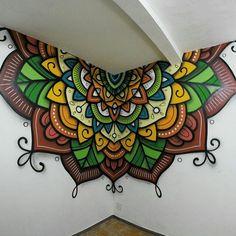 Ideas Wall Painting Designs Mandala For 2019 Stencil Designs, Wall Art Designs, Paint Designs, Wall Design, Mandala Painting, Mandala Art, Mural Art, Wall Murals, Diy Wall