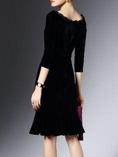 Shop Midi Dresses - Black 3/4 Sleeve Flounce Bateau/boat Neck Midi Dress online. Discover unique designers fashion at StyleWe.com.