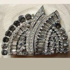 Vintage Art Deco Rhinestone Duette Dress Clip Set Unsigned   AestheticsAndOldLace - Jewelry on ArtFire