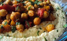 creamy hummus with warm chickpeas and preserved lemon