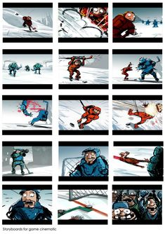 Hockey Video Game Cinematic Storyboard Illustration - Search similar styles, portfolios and artists on the illustration agent website. Graffiti Tagging, Projection Mapping, 3d Animation, Character Illustration, Storyboard, Science Fiction, 2d, Hockey, Video Game