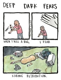 """18 Comics That Perfectly Illustrate Our Strangest Little Fears - Funny memes that """"GET IT"""" and want you to too. Get the latest funniest memes and keep up what is going on in the meme-o-sphere. Creepy Stories, Horror Stories, Horror Comics, Funny Comics, Weird Fears, Fear Book, Deep Dark Fears, Arte Obscura, Little Memes"""