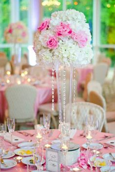 DIY Wedding Centerpieces | Bling Bling. Crystals hung from tall centerpiece vases filled with ...