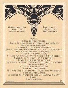 RAVEN Prayer Parchment Poster or Page for Book of Shadows!