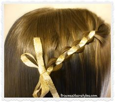 Cute waterfall chain braid hairstyle with ribbon