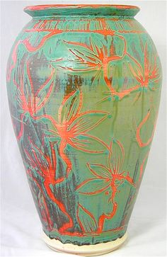 Large Floral Ceramic Vase. Beautiful colors. Large vases are great for large spaces.