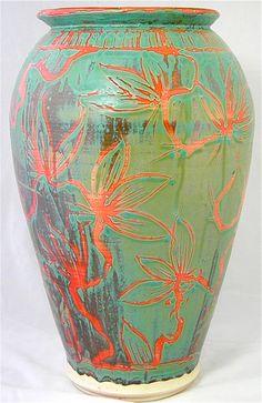 Large Floral Ceramic Vase