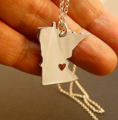 Minnesota State , solid sterling silver necklace , sterling silver chain, custom heart via Etsy