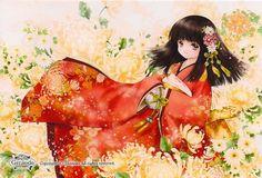 Princess in red kimono by manga artist Shiitake. Manga Anime, All Anime, Anime Chibi, Manga Girl, Anime Art, Anime Girls, Samurai, Zelda Twilight Princess, Coloring Book Art