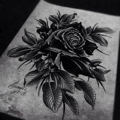 The Grim Tattoos of Alexander Grim Black Rose Tattoo Coverup, Rose Tattoo Cover Up, Dark Roses Tattoo, Skull Tattoo Flowers, Black Tattoo Cover Up, Black Rose Tattoos, Dark Tattoo, Cover Up Tattoos, Butterfly Tattoos