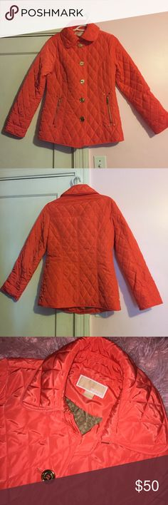Michael Kors Quilted Jacket Excellent condition Michael Kors quilted jacket. Buttons down and has a clasp at the neck! Bright orange color but almost looks reddish. Michael Kors Jackets & Coats Puffers