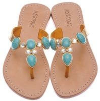 Jeweled Flat Sandals by Mystique | Genuine Leather Flat Jeweled Sandal--gee-these are ONLY $145.00