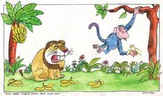 'Who keeps dropping banana skins round here?'  From 'Not me, said the monkey' published by Walker Books Ltd in 1987  Media used: Watercolour with black & coloured ink      Original Published Artwork      Unmounted      Dimensions: 370 x 230 mm           £375.00