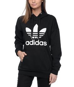 For a laid back style that you can wear with leggings or slim jeans, the Trefoil black hoodie from adidas offers comfort and street style. This black pullover sweatshirt features a screen printed adidas trefoil logo on the front and is finished with a lig