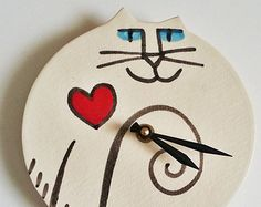 Items similar to Wall clock: handmade Cat decor vibrant red black whimsical Pottery sale on Etsy