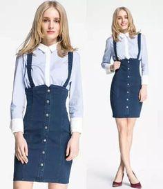 Fashion Styles: Shirt & Denim Overall Skirt