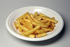 French fries or chips, fries or French-fried potatoes are batons of deep-fried potato. North Americans refer to any elongated pieces of fried potatoes as fries, while in the United Kingdom, Australia, Ireland and New Zealand, long, thinly cut slices of fried potatoes are sometimes called fries to distinguish them from the more thickly cut strips called chips (while potato chips are called crisps).