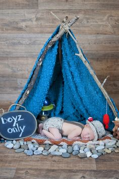 Newborn baby boy camping-theme photography. I hand-made the tent frame and brought in rocks from outside! So cute! Elizabeth Moore Photography | York, PA