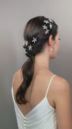 wedding hair accessories, wedding fashion, bridal hair Bohemian Ethereal Trendy Celestial Bridal Headpiece Swarovski crystals in a star shape garland. Ideal for styling across the top of the head as a delicate circlet Hair Accessories For Women, Wedding Hair Accessories, Bride Hairstyles, Summer Hairstyles, Hermione, Boho Wedding Hair, Hair Videos, Bridal Headpieces, Hair Jewelry