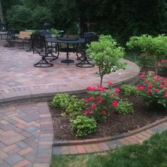 Brick paver patio with border   paver patios, tumbled brick pavers , seatwalls, patios, seating