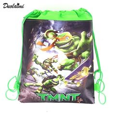 1Pic children schoolbags Teenage Mutant Ninja Turtles Children Satchel Turtles children girl Drawstring Backpack & Bag For young