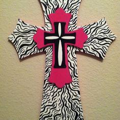 Pink zebra cross I painted