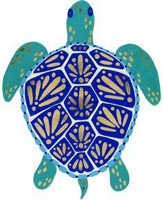 Art And Illustration, Illustrations, Sea Turtle Art, Sea Turtle Shell, Turtle Rock, Sea Turtles, Turtle Painting, Gold Art, Sea Creatures