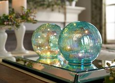 """H213776 2pc 6"""" Iridscent Crackly Illuminated Spheres. Available in blue (shown), opalescent or green. H197823"""