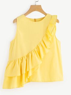 SheIn offers Asymmetric Layered Flounce Trim Shell Top & more to fit your fashionable needs. Casual Chic Outfits, Blouse Styles, Blouse Designs, Moda Junior, Moda Kids, Kids Outfits, Cute Outfits, Yellow Clothes, Hijab Style
