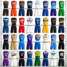 A final compilation of every single jersey I've designed in my NBA jersey redesign project. Over 60 hours went into this project, and I'm… Basketball Vests, Logo Basketball, Basketball Design, Basketball Jersey, Volleyball Kit, Volleyball Uniforms, Nba Uniforms, Sports Uniforms, Outfits
