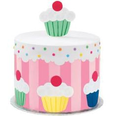 Cupcake Celebration Cake. One party treat celebrates another, when cupcake-shaped Sugar Sheets! designs surround this colorful round cake! Coordinate the celebration by serving your own baked cupcakes.