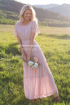 Blush Pink Modest Dress | Best and Affordable Modest Boutique | Cute Modest Dresses and Skirts for Church - Neesee's Dresses Blush Pink Long Dress, Blush Pink Bridesmaid Dresses, Bridesmaid Dresses With Sleeves, Lace Dress With Sleeves, Modest Dresses, Bridesmaids, Shabby Chic Dress, Modest Boutique, Chiffon Maxi Dress