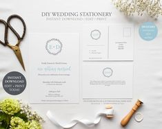 Wedding Invitation Bundle (Berry Wreath Collection) - DIY Printable Wedding Stationery, Template Set, Printable Invitation, INSTANT DOWNLOAD by JellypressPrintables on Etsy