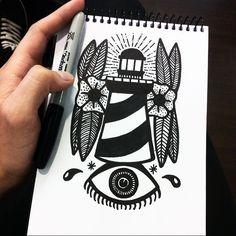 Pablo Contreras. -- Mantén la vista en el camino que quieres seguir. #illustration #drawing #blackandwhite #ink #dibujo #ilustracion #sharpie #black #tattoo #tatuaje #lighthouse #eye #sinboceto #sharpie #sharpieinkcreations