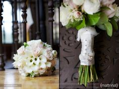 White & light pink wedding bouquet